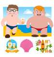 two men on the beach for design resort theme vector image