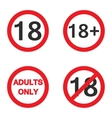 under eighteen sign 18 adults only warning vector image