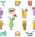 various drink colorful pattern style vector image vector image
