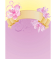 vintage banner with flowers on pink background vector image vector image
