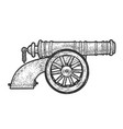 vintage old cannon sketch vector image vector image
