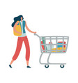 woman shopper with shopping cart modern female vector image