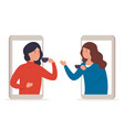 woman talking with friends on phone drinking tea vector image