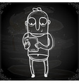 Working Man Drawing on Chalk Board vector image vector image
