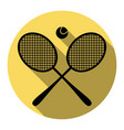 tennis racket sign flat black icon with vector image