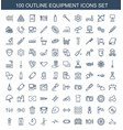 100 equipment icons vector image vector image