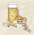 beer ware background in retro style beer mug vector image
