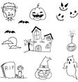 Black white halloween doodle vector image vector image