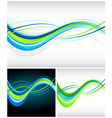 blue and green flowing lines vector image