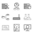 book icons set outline style vector image vector image