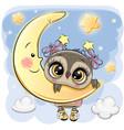 cartoon owl girl on the moon vector image vector image