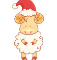 Cartoon sheep wearing santa hat vector image vector image