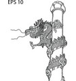chinese style dragon statue line sketch up vector image