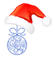 Christmas elements set hat ball vector image