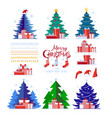 christmas set decorative winter objects vector image