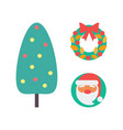 christmas tree and decoration wreath set vector image vector image