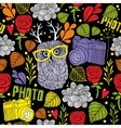 Colorful seamless pattern with cute owl with horns vector image vector image