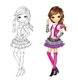 Coloring Book Of Girl In Vest vector image vector image