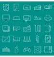 Computer components and peripherals thin lines vector image vector image
