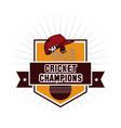 cricket champions emblem vector image