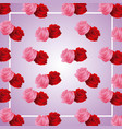 cute roses frame ornament on blur background vector image