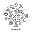 data security sign round design template thin line vector image