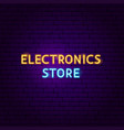 electronics store text neon label vector image vector image