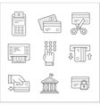 Financial security icons Linear style vector image