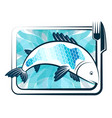 fish on a plate and appliances vector image vector image