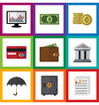 flat icon incoming set of cash bank document and vector image vector image
