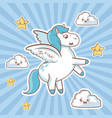 flying unicorn card cloud stars fantasy desing vector image