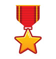 gold star medal with red ribbon for championship vector image vector image