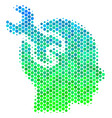halftone blue-green brain service wrench icon vector image vector image