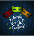 happy brazilian carnival day red green and orange vector image