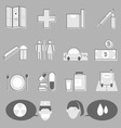 Hospital and medical icons on gray background vector image vector image