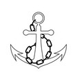 icon of sea anchor with chain vector image