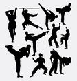 Karate fighting martial art silhouette vector image vector image