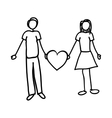 man and woman holding heart cartoon icon image vector image