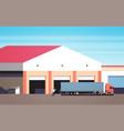 man help big semi truck drive into warehouse vector image