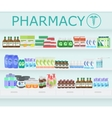 Modern pharmacy drugstore interior Pills and vector image vector image