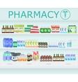 Modern pharmacy drugstore interior Pills and vector image