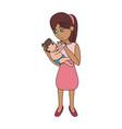 mom holding baby cartoon vector image