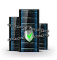 network servers with a lock with chain security vector image vector image