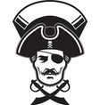 pirate captain head mascot vector image vector image