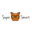 portrait of smart cat glasses cat geek vector image vector image