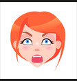 redhead woman shocked face flat icon vector image