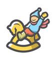 rocking bahorse icon cartoon vector image
