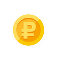 rouble symbol on gold coin flat style vector image vector image