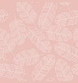 seamless pattern with white leaves on pink vector image vector image