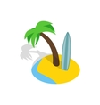 Seascape with palm trees and surfboard icon vector image